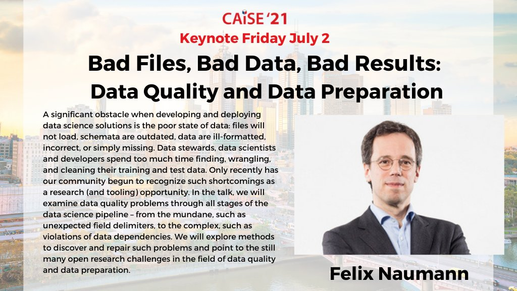 Such a great keynote: informative, lively, and great examples. I particularly liked the triple registration of @wvdaalst at @CAiSEConf to illustrate the relevance of duplicate detection.  Thanks Felix Naumann!  #caise2021