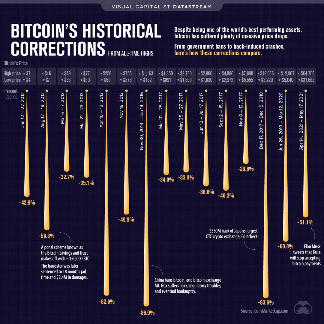 Historique des chutes de bitcoin - Bitcoin krach history