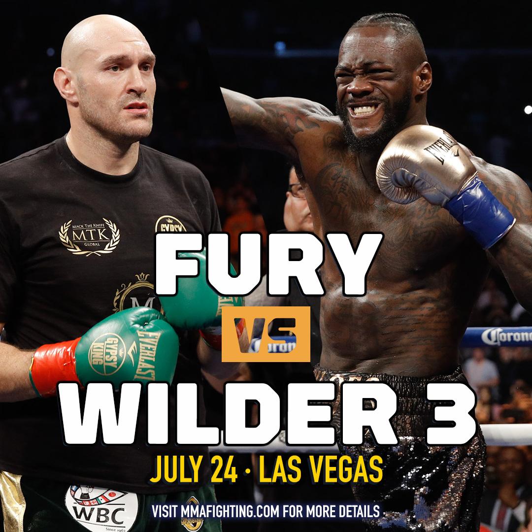 """MMAFighting.com в Twitter: """"Tyson Fury vs. Deontay Wilder 3 set for July 24  in Las Vegas https://t.co/wzVhzBTSW9… """""""