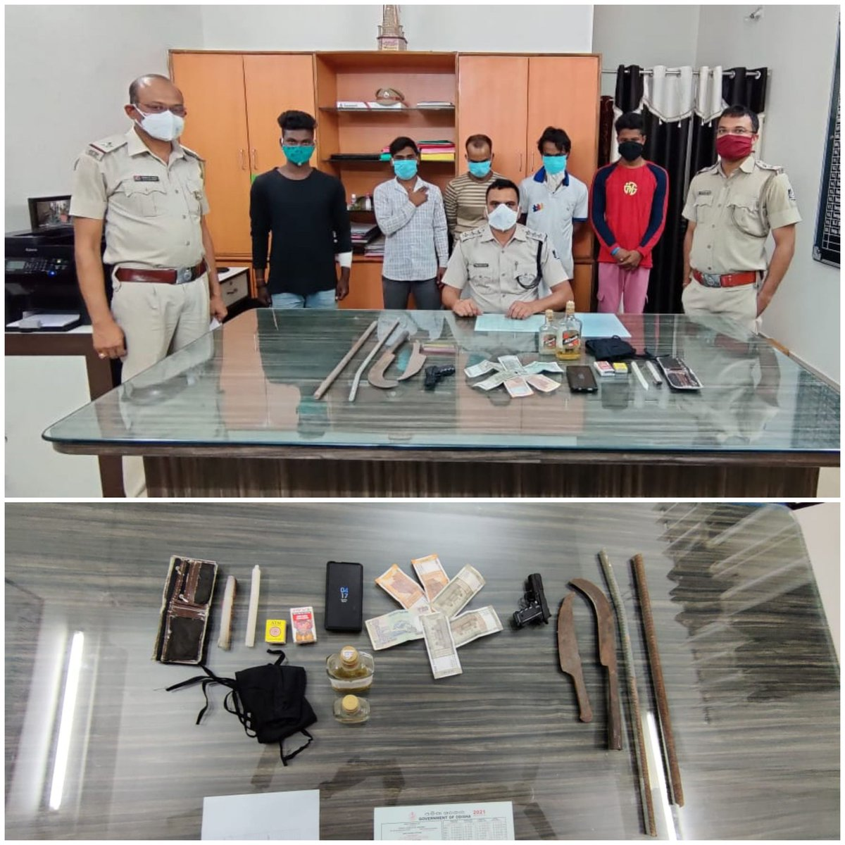 Rajgangpur Police apprehended 5 persons while preparing to commit dacoity. One mobile, cash of Rs.2,000, one money purse,two iron Bhujali,one toy pistol,two iron rods along with other incriminating articles have been seized. PS case No. 153 u/s 399/402 IPC was registered. https://t.co/Hie1XH4nwz