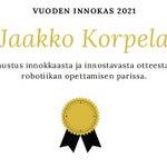 Image for the Tweet beginning: Vuoden #Innokas 2021 on luokanopettajaopiskelija