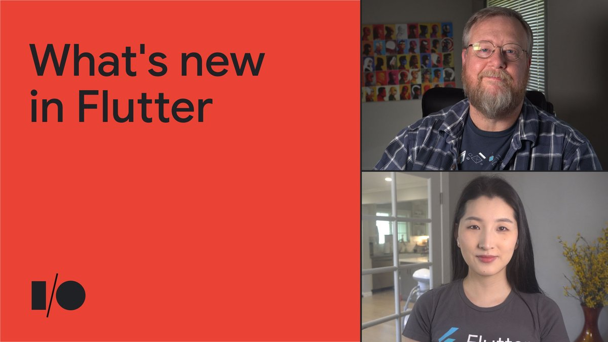 🤩 Learn what's new in Flutter Check out this #GoogleIO Keynote with @ZoeyFan723 and @csells to find out more about: ✌️ Flutter 2.2 release 🔼 Latest Updates to Dart and Flutter 🔧 Flutter DevTools 🌍 The ecosystem … and more! Watch 👉 goo.gle/3ulaR9U