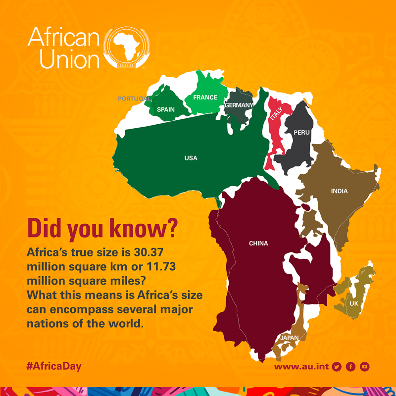 The false impression about Africa's true size was reinforced through the use of maps designed centuries ago which distorted shapes and sizes and made areas far from the equator such as Europe and North America appear larger than they actually were  #AfricaDay https://t.co/qh4FTmQRbh