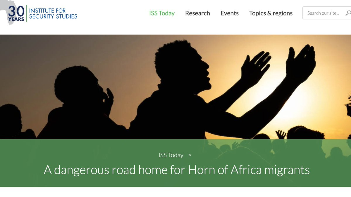 Just published @issafrica article: 'A dangerous road home for Horn of Africa migrants.' Sheds light on new reverse #migration trend in the Eastern Route.    The article is part of a joint @issafrica-@IOMRONairobi research initiative.    Here's the link: https://t.co/oO25ZS6gIi https://t.co/LQtMgSXDqx