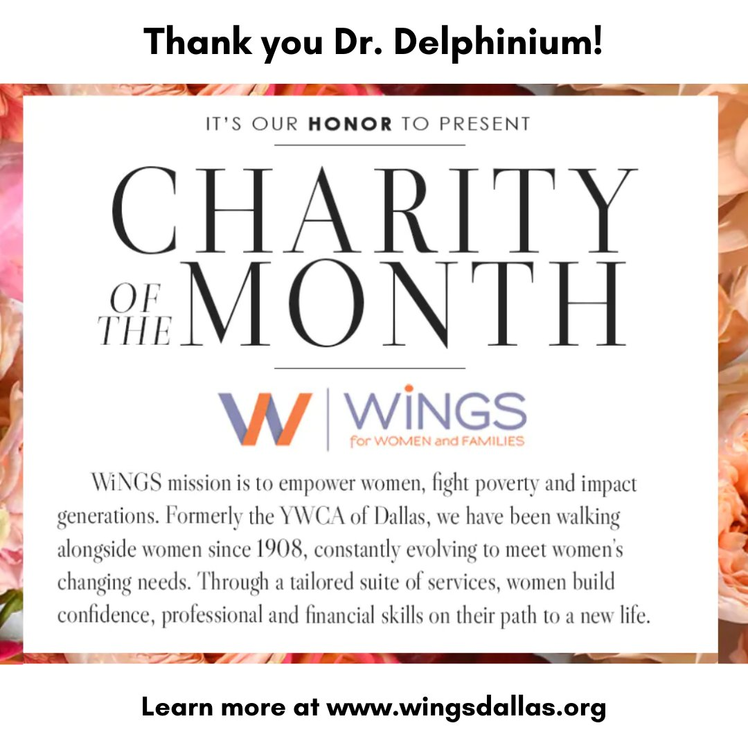 test Twitter Media - We are so grateful to Dr. Delphinium Designs + Events for choosing WiNGS as the Charity of the Month in May. We appreciate your recognition of our community work and all of your efforts to support us this past month! Thank you, @drdelphinium! https://t.co/mWR61JQ5pw