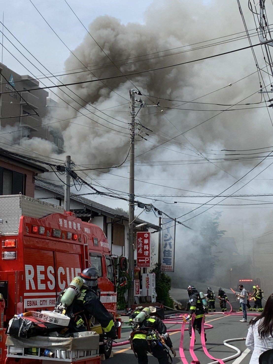 海老名市上今泉の火災現場の画像