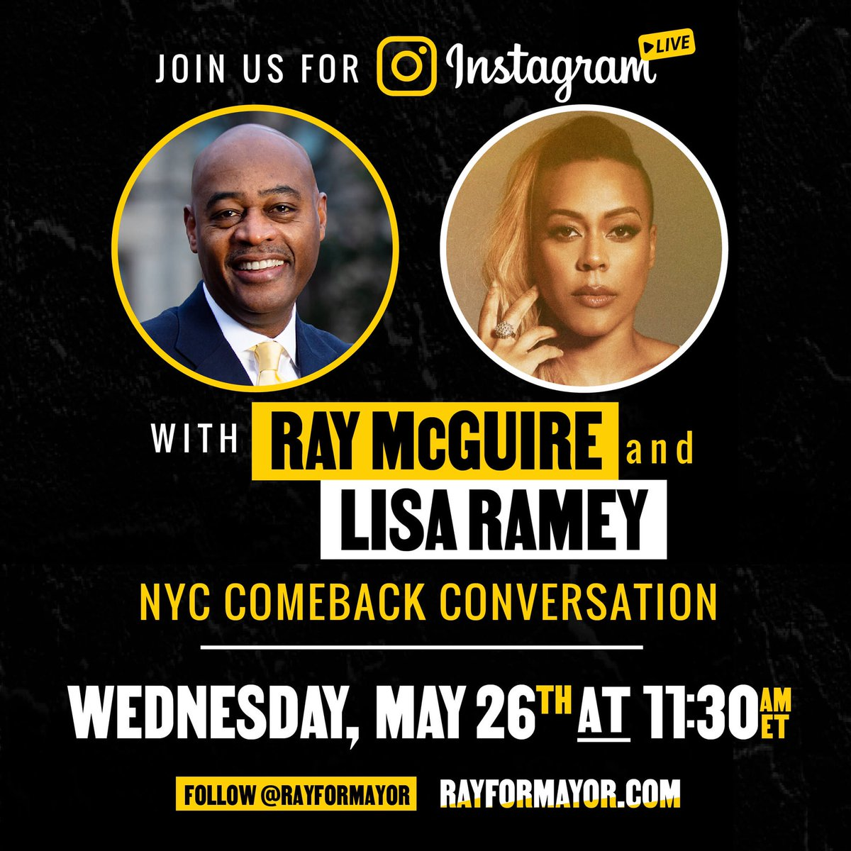 Please join the amazing @lisarameymusic one of the extraordinary #WomenForRay Queens as she speaks with @RayForMayor on IG live TODAY at 11:30am about his greatest most inclusive comeback plan in New York City history!!