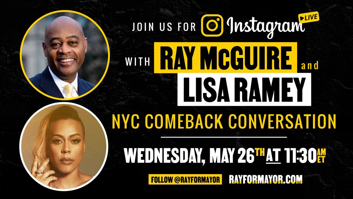 Today my #1 for NYC Mayor @RayForMayor joins me on my @instagram morning show Coffee Confessions. Come over to my IG (@lisarameymusic) at 11:30 EST to hear Ray discuss things like his plan for NYC's post pandemic Comeback and whether he likes butter or margarine on his toast.