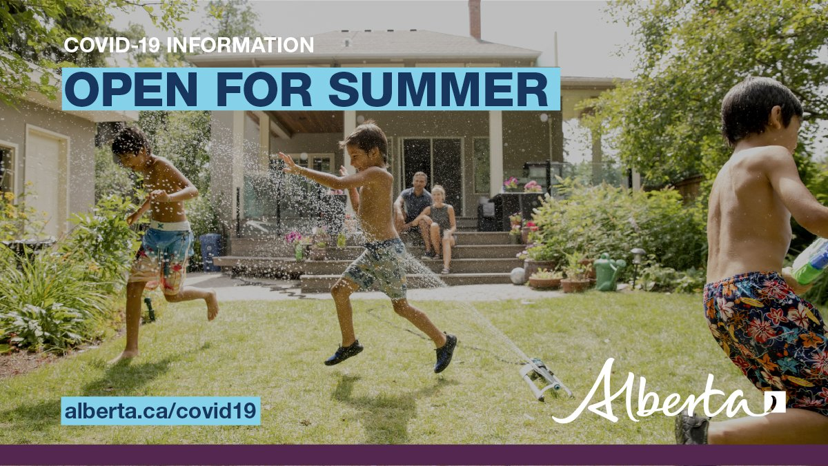 """Alberta Government on Twitter: """"Alberta's Open for Summer plan provides a  three-stage road map to lifting health restrictions and safely getting back  to normal, as long as public health measures are followed"""