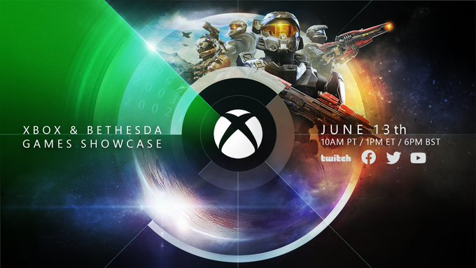 """The Xbox logo positioned in the center of a planet. Text on the left reads """"Xbox & Bethesda Games Showcase"""" and text on the right reads """"June 13th, 10 AM PT/ 1 PM ET / 6 PM BST"""" above logos from Twitch, Facebook, Twitter, and YouTube. Various armored soldiers from the Halo universe are on the top right."""