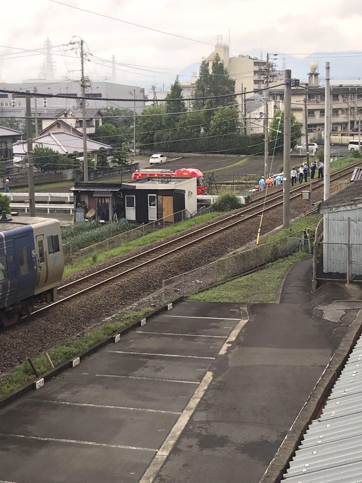 予讃線の伊予三島駅の人身事故現場の画像