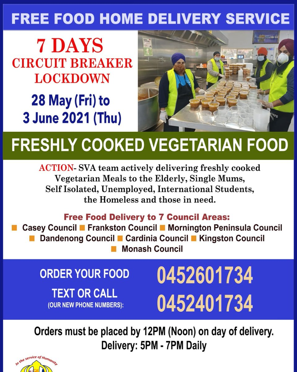 Following today's announcement, Sikh Volunteers Australia team will commence Free Food Home Delivery service to the 7 Council areas daily during the 7 days 'CIRCUIT BREAKER' lockdown period from tomorrow. If anyone need food assistance from any other area please feel free to call
