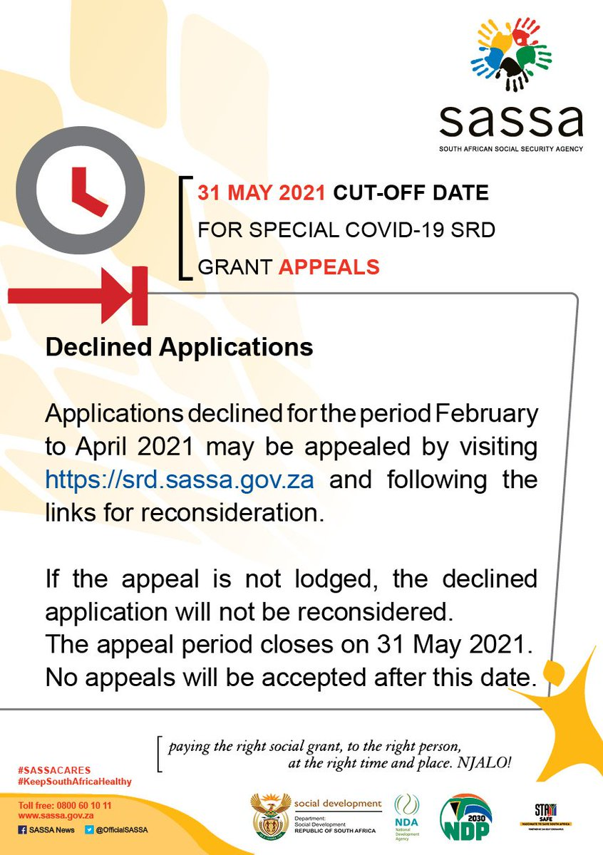 Sassa On Twitter Cut Off Date For Special Covid 19 Srd Grant Appeals The Appeal Period Closes On 31 May 2021 No Appeals Will Be Accepted After This Date Https T Co Mdgamzedbj