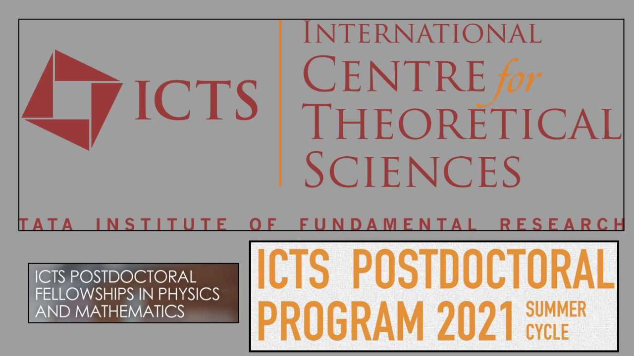 ICTS Postdoctoral Fellowships 2021 in ICTS-TIFR, Bengaluru, India