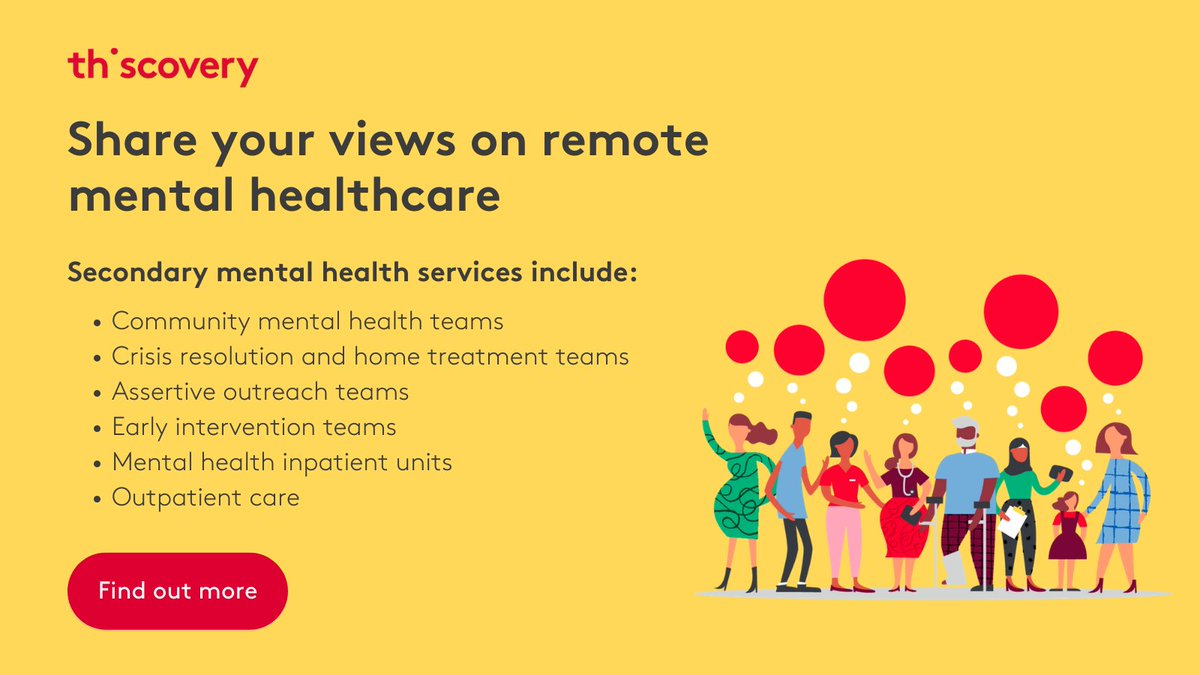 We've launched a new study to understand what works and what doesn't in remote secondary mental healthcare. Have your say and help shape the principles to inform remote care. Find out more: https://t.co/69EpRv5tCu https://t.co/AXIMUnUMoK