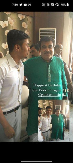 Happy Birthday Hon\ble Nitiji with my son Prarik