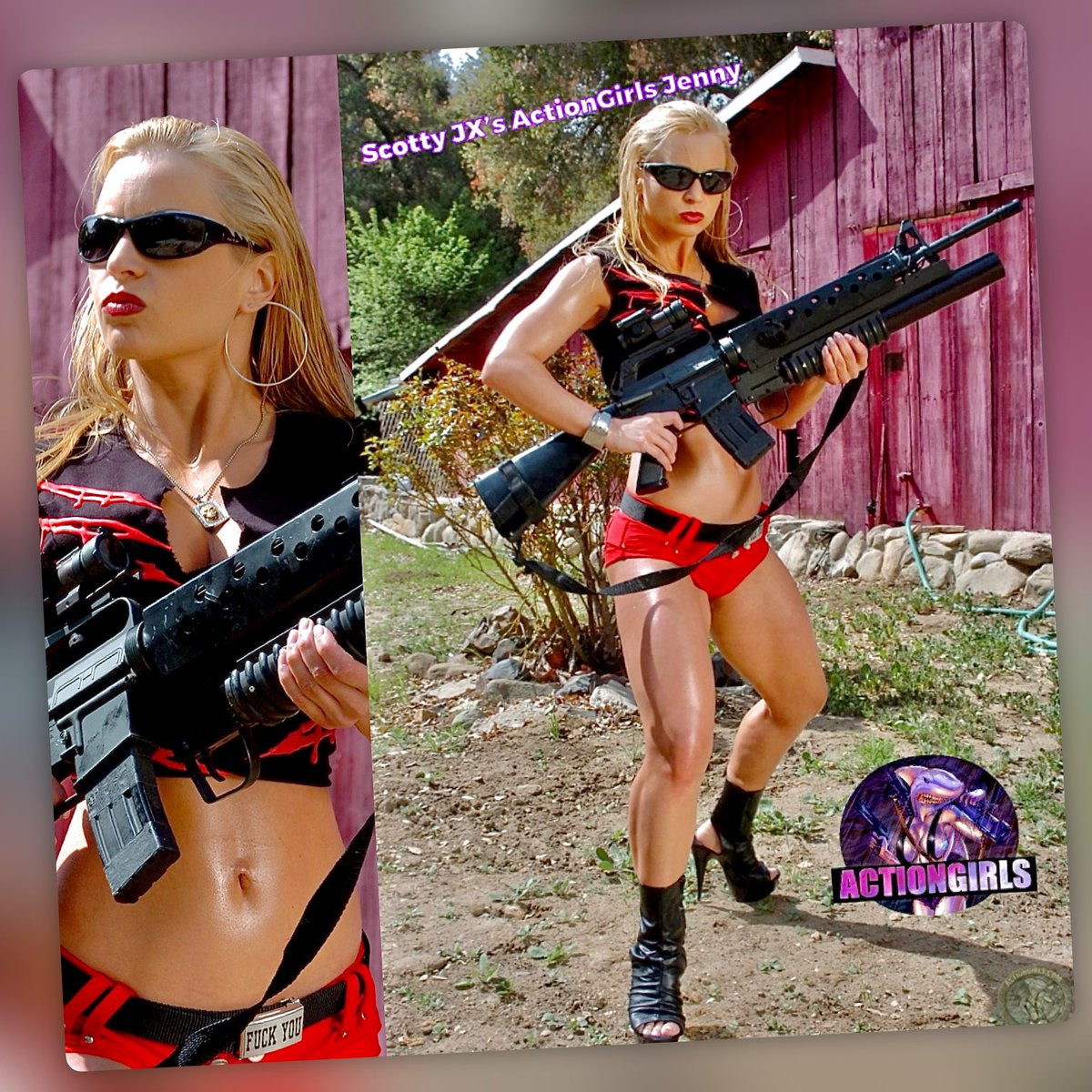 Scotty JX's ActionGirls Shark 🦈 Jenny Character. @ScottyJX Stand aside or become, Van Damaged, SJX AG Shark Jenny Character the Poussin Machine played by @realjennypoussin with 🇺🇸 🇨🇦 🇫🇷 🩸 SJX AG Jenny… #sjxagjenny #scottyjx #actiongirls read more 🔽