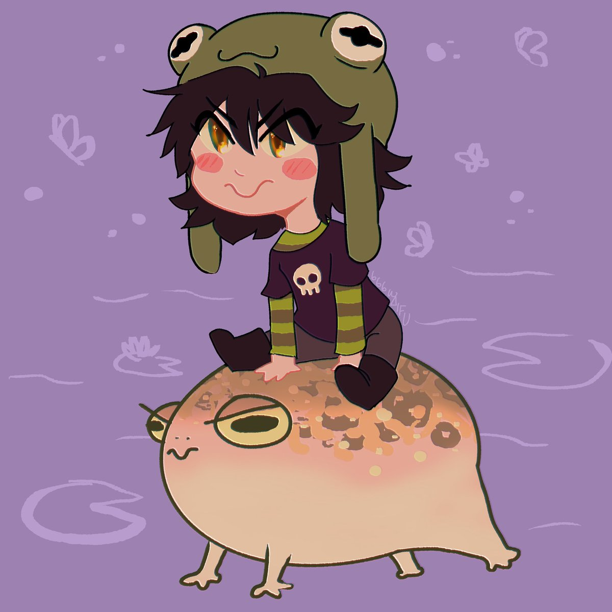 finished this adorable commission for a friend!! #frog #frogart #chibi #chibiart #kawaii #commission #art #digitalart #artist #froggy