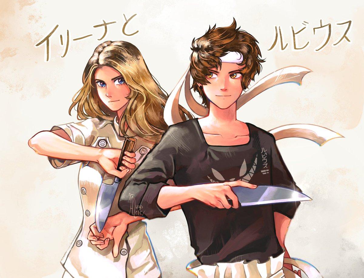 •  ꜝֶָ֢  食戟のソーマ ꜝֶָ֢   •  ㌥ᖗ Dibujito de Irina y Rubius como Sōma y Erina de Shokugeki no Sōma ♡  // #CocinandoConRubina3 #rubiusfanart //