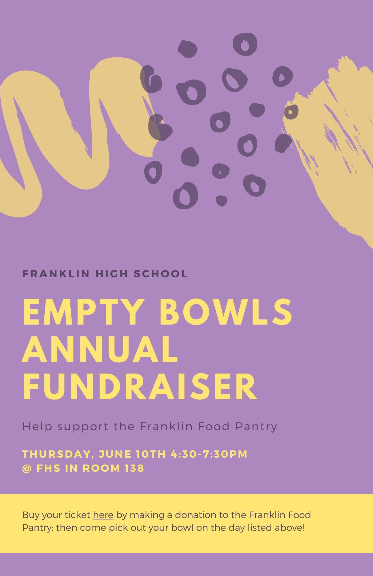 Empty Bowls - modified fund raiser - June 10