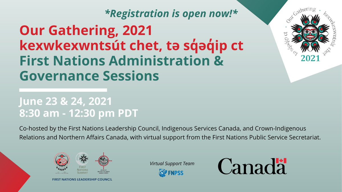 The #OurGathering2021 kexwkexwntsút chet, tə sq̓əq̓ip ct June 23 & 24 sessions (co-hosted by  @GCIndigenous, @BCAFN, @UBCIC, &  @FNSummit) start tomorrow! Have you registered?  Registration info, session schedules, and the agenda are available here: https://t.co/Frr5qevL50