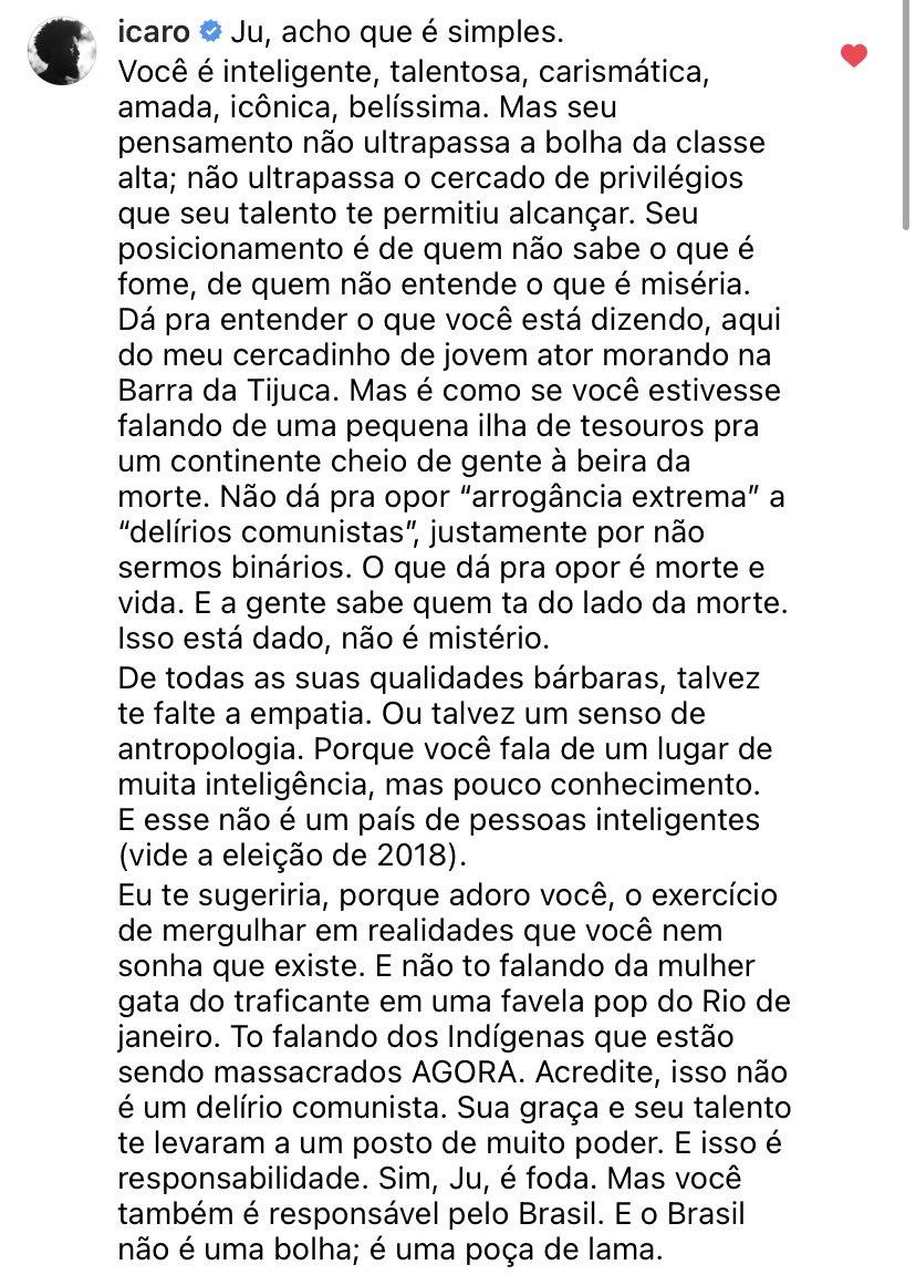 """maria bopp on Twitter: """"Esse comentário do Ícaro Silva pro delírio  isentista da Juliana Paes me parece um belo resumo da história toda.  Paulada.… https://t.co/tfg8iAXDtr"""""""