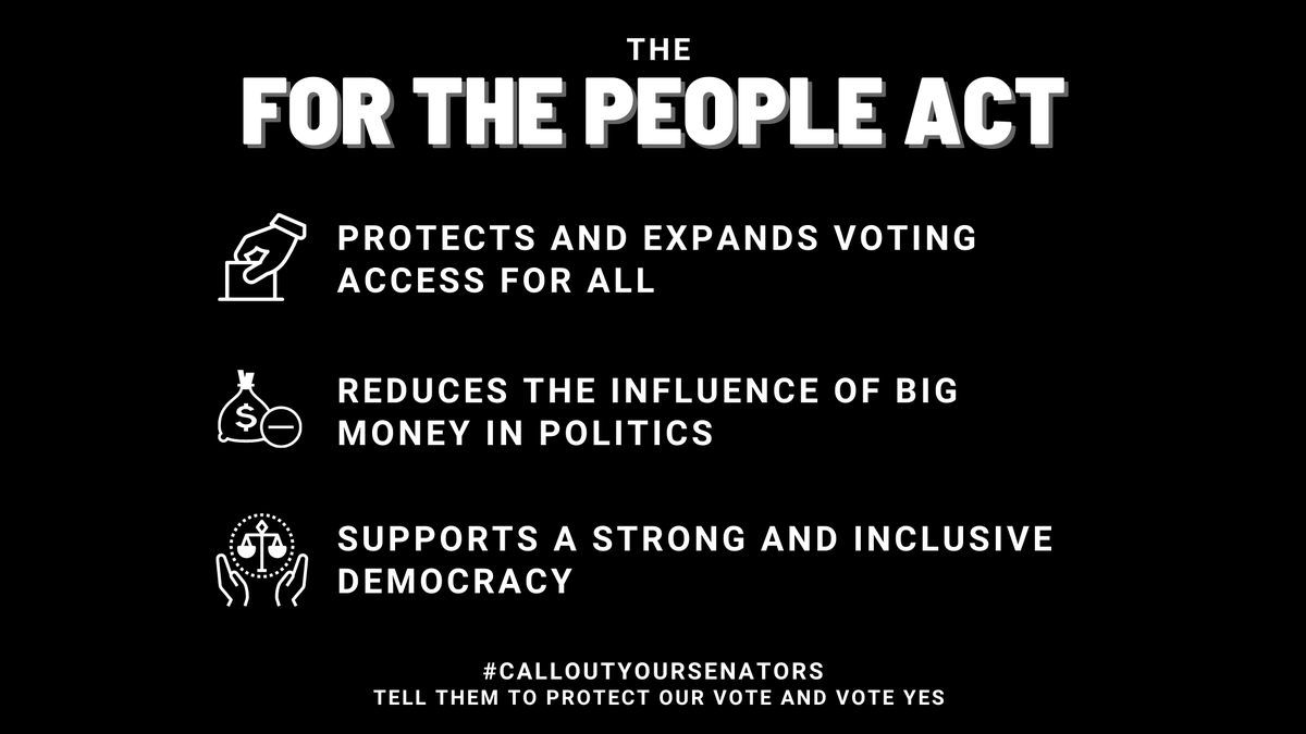 The For the People Act is exactly that. For the People.  Voting should be easy, accessible, and convenient to ALL.  Visit https://t.co/9hOSsZGWeu and #CallOutYourSenators! Tell them you want them to vote YES on the #ForThePeopleAct. https://t.co/CV3V1TxaZb