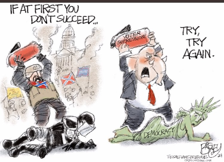 Powerful & starkly true. Cartoon by @Patbagley  My #SeditionCaucus  @RepJackBergman in #MI01 is actively responsible for both of these w/ his #BigLie & refusal to certify. He still hasn't told the truth re the election 6 mo later. Shameful, dangerous. Corps must #DefundBergman https://t.co/cRgKPUriu0