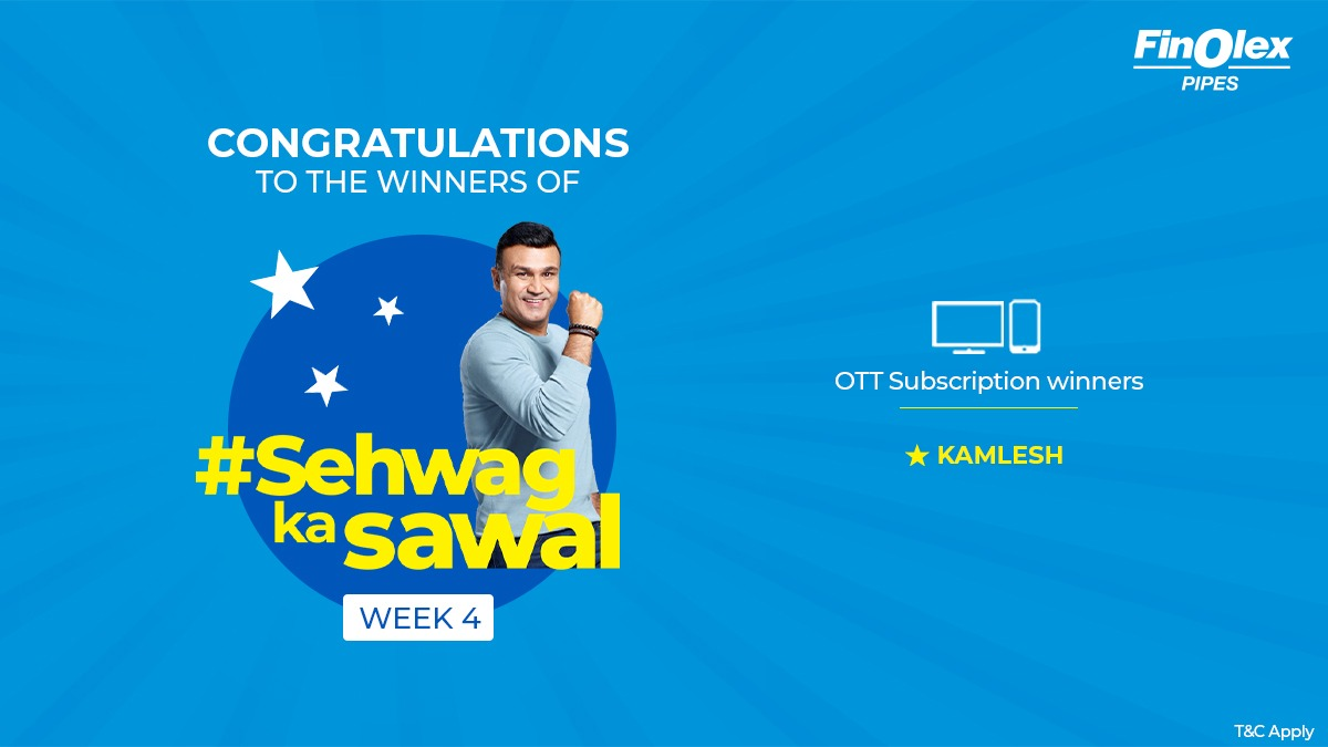 #Winners #ContestAlert Congratulations to the winners of #SehwagKaSawaal Week 4. Winners are requested to DM us their email id & phone number to claim their prize.   #Contest #FinolexPipes #LonglastingPipes #PipingSystems #Agriculture #Plumbing #Cricket #VirenderSehwag #Pipes https://t.co/pJWWyA7wNn