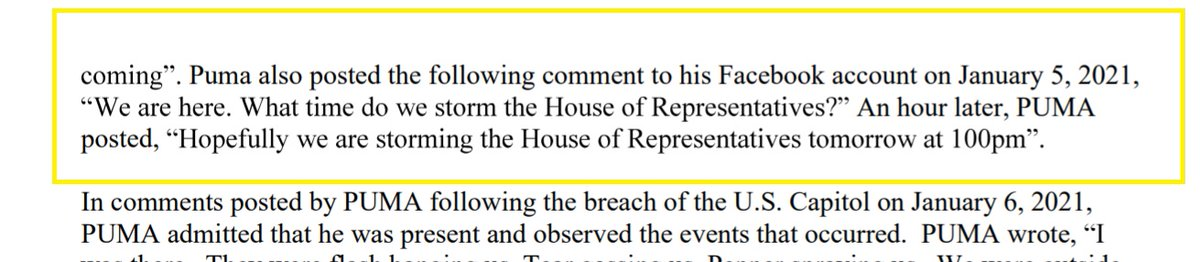 """ALERT:  In charging documents, FBI agent says Jan 6 defendant Anthony Puma of Michigan posted the following on Facebook on *January 5*  """"We are here.  What time do we storm the House of Representatives?""""  """"Hopefully we are storming the House of Representatives tomorrow at 1pm"""" https://t.co/f3mOwNj86u"""