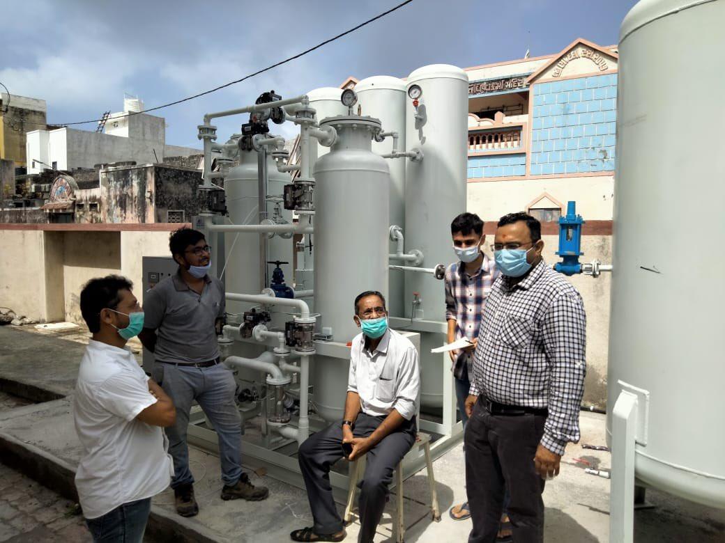 Oxygen plant sponsored by Shri Somnath Trust installed at Prabhas Patan CHC