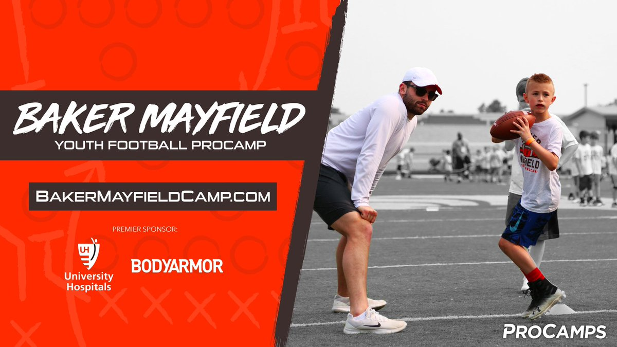 Cleveland, let's get it! My Youth Football @ProCamps is returning this summer on 7/24 & 7/25. I hope you can join us for drills, games, contests, and more. Head to https://t.co/dNWlaDqgJ8 to reserve your spot. Special thanks to @UHhospitals & @DrinkBODYARMOR for their support. https://t.co/SbB0maMOgu