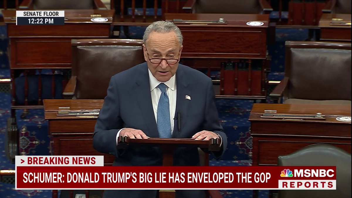 """Sen. Schumer after a failed vote on a Jan. 6 commission: """"The Republican minority just prevented the American people from getting the full truth.""""  """"Shame on the Republican Party for trying to sweep the horrors of that day under the rug because they're afraid of Donald Trump."""" https://t.co/t63QMG5aNX"""