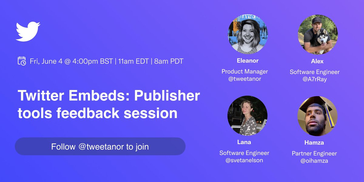 📣 Calling all publishers & developers who embed Twitter content.  In exactly a week, our Embed team will host a space to hear about your experience working with Twitter's publisher tools. What's working? What's not?  We're listening - come chat!  https://t.co/SQIEd2hQ4G https://t.co/xyZD2OyEIf