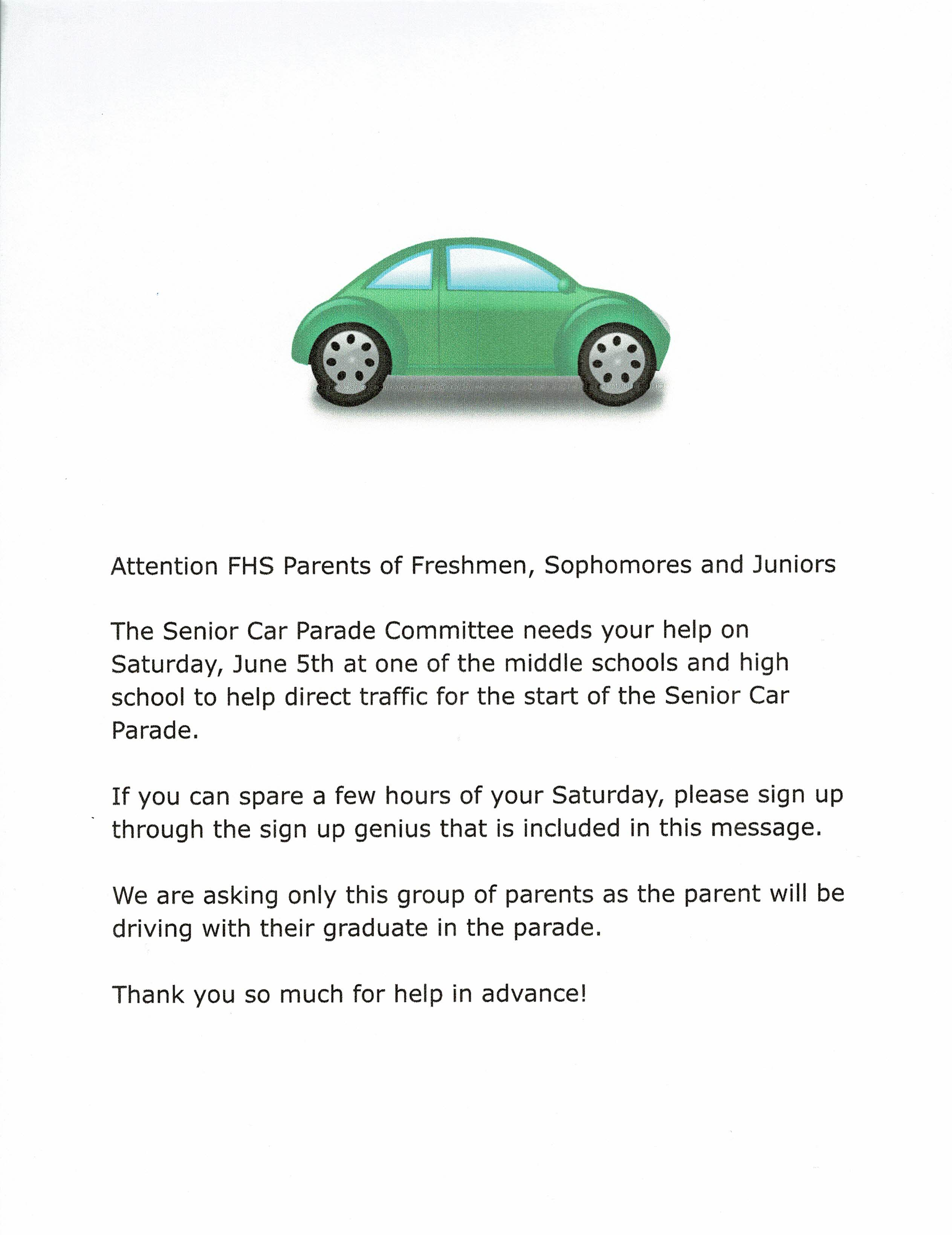 FHS PCC: Attention parents, Senior Car Parade can use your help