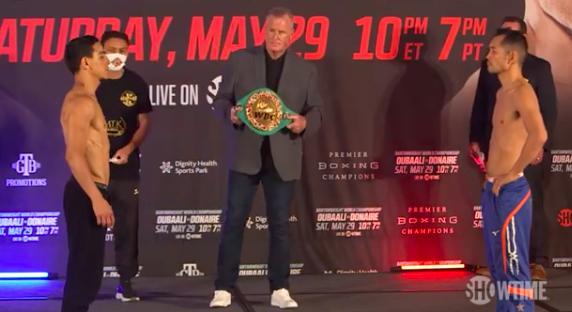 Oubaali y Donaire cumplieron con el pesaje y mañana el boxeador galo defenderá su cinturón mundial gallo CMb ante el filipino desde Carson, California.