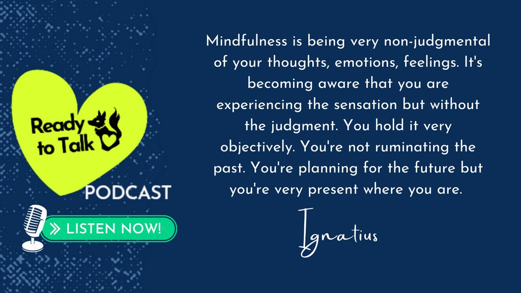 Come listen to Ignatius on my #ReadyToTalkpodcast as he talks about exploring mindfulness! ➡️ https://t.co/0cl2uS03Vs #Asianmentalhealth  #aapiheritagemonth2021 #MentalHealthAwarenessMonth https://t.co/imHjoVjmFX