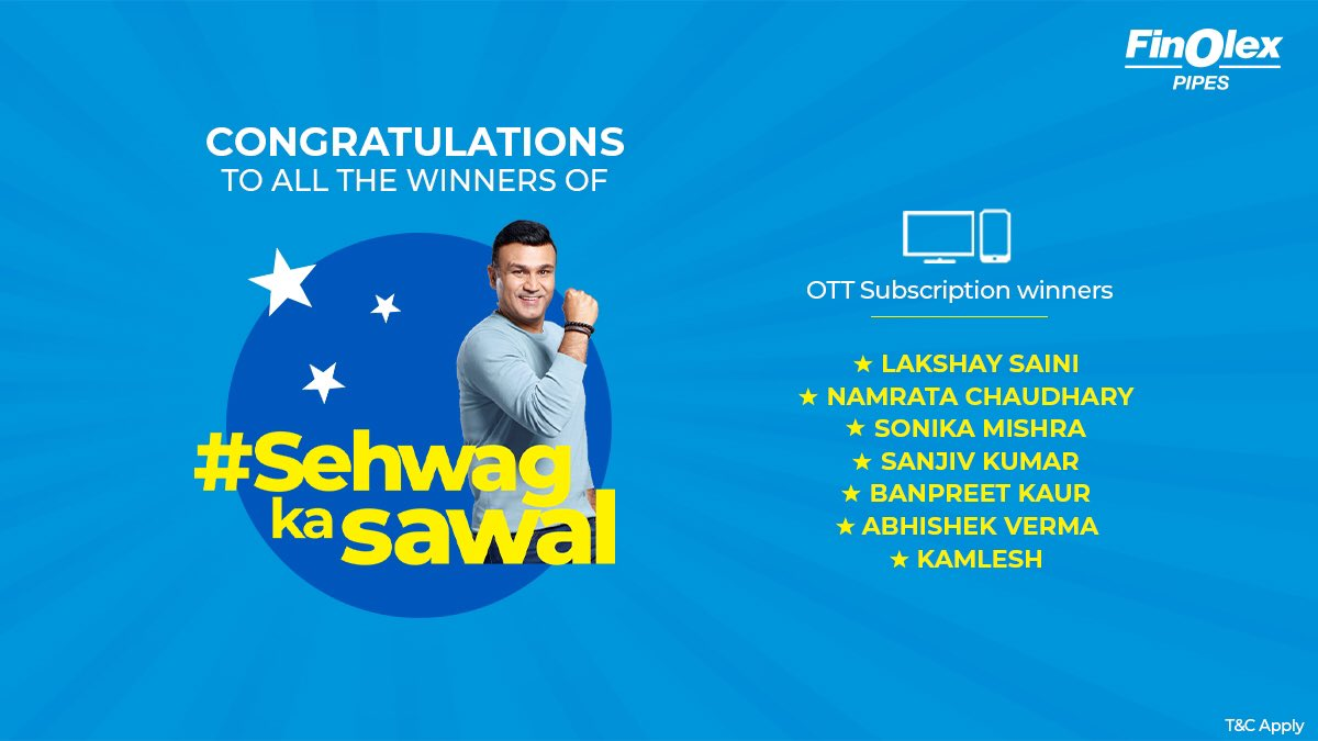 Congratulations to the winners ofall the #SehwagKaSawaalContest. Winners are requested to DM us their email id & phone number to claim their prize.Thank you all for participating in our #SehwagKaSawal Contest #Contest#FinolexPipes#LonglastingPipes#PipingSystems https://t.co/TALwUTaXuh