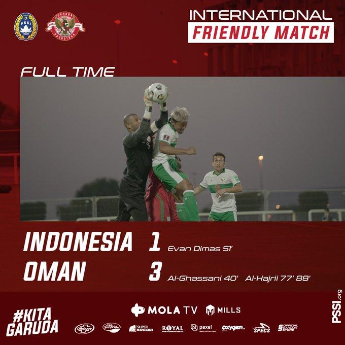 Hasil akhir Timnas Indonesia 1-3 Oman