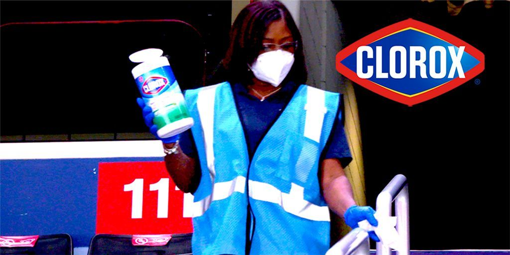 They are at it again! Our @Clorox Clean Team is helping create a cleaner and safer experience for @WashWizards fans for #Game3 #NBAPlayoffs2021 tonight! #CloroxClutch ➡️ https://t.co/Us5PZBSjkw https://t.co/gYytNzyuQn