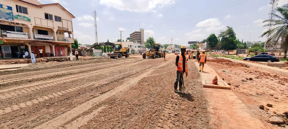 Update from Kaduna State Urban Renewal Projects (Road Component). Status: Construction work of Underpass bridge at former Leventise Roundabout, Yakubu Gowon way is on going by CCECC.