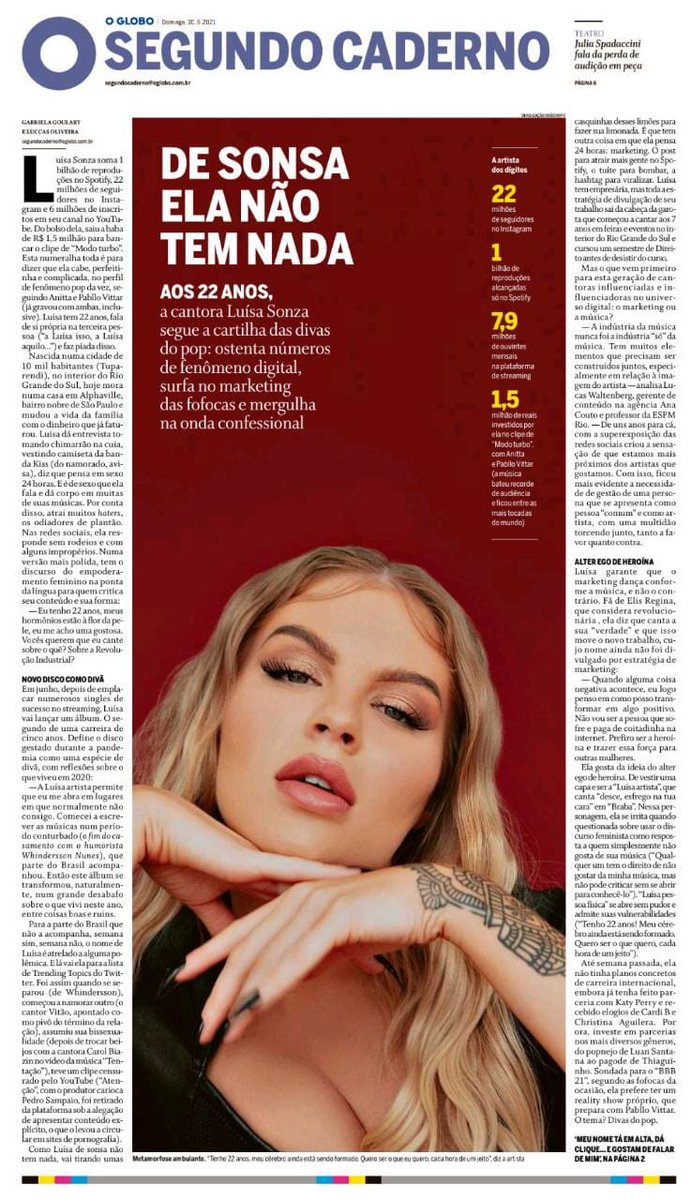 RT @CentraldaLuisa: Luísa é capa do segundo caderno do @JornalOGlobo 🍭 https://t.co/FQePuHRPSy