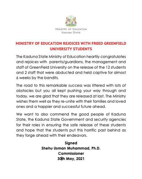 Ministry of Education Kaduna (@Kaduna_MoE) on Twitter photo 2021-05-30 16:44:27