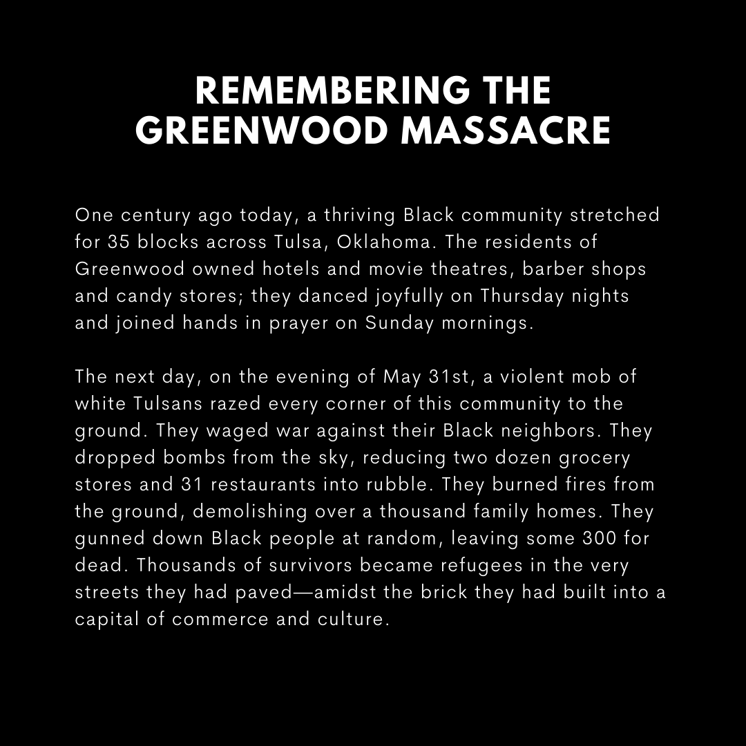 Sending love to the people of Tulsa as they commemorate the Massacre of 100 years ago.  While we won't be together tomorrow, I look forward to visiting with you in the near future, and, most importantly, to a true reckoning and reparations for the survivors and their descendants. https://t.co/v1qA1hyVdU