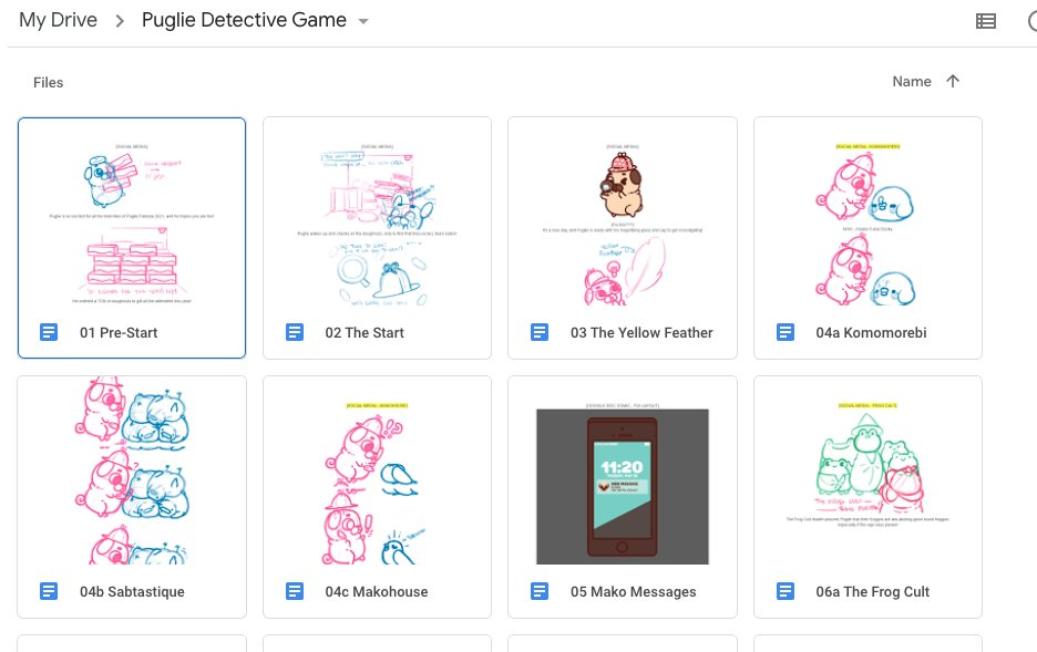 Snapshot of a Google Drive folder with thumbnails of the Detective Game's comic sketches.