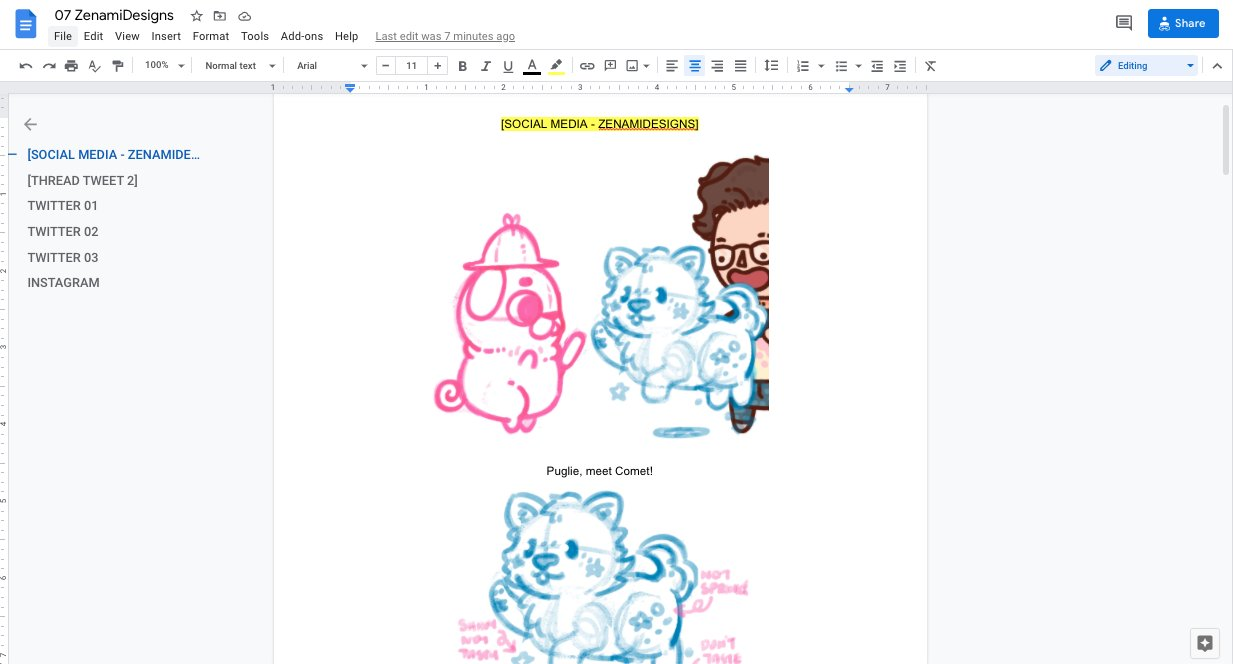 Snapshot of a Google Doc showing the sketch of Puglie meeting Comet.