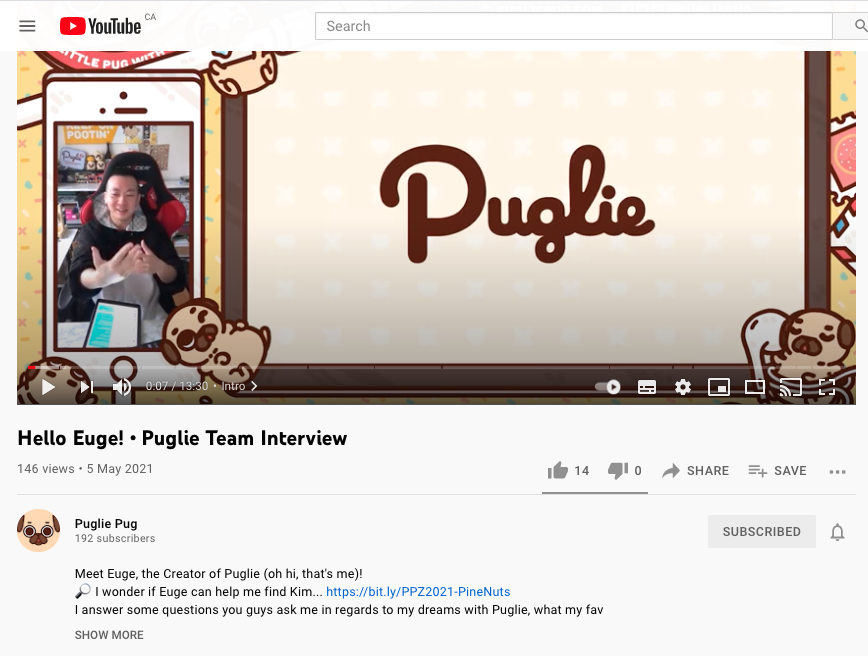 """Snapshot of a """"Hello Euge! • Puglie Team Interview"""" video from Puglie's Youtube Channel."""