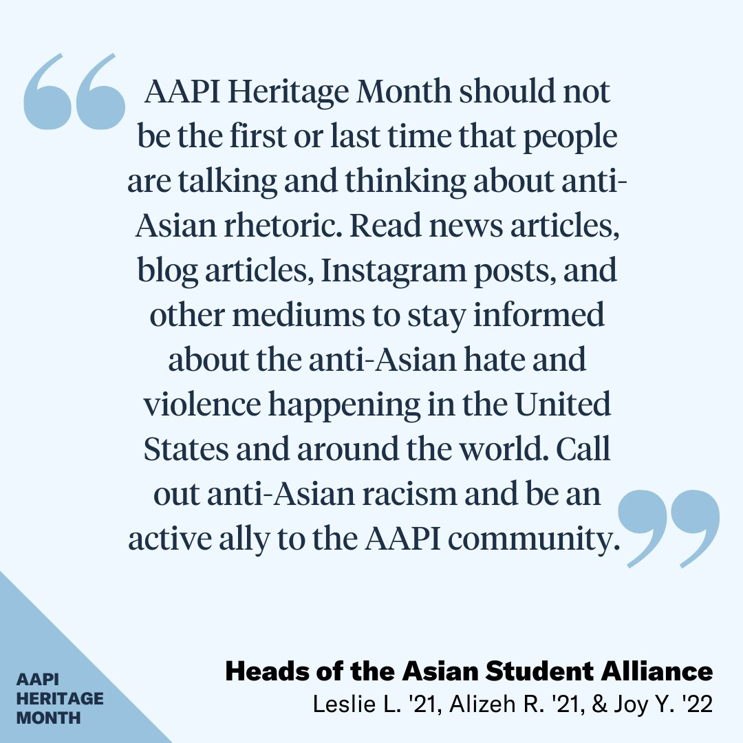 Read news articles, blog articles, Instagram posts, and other mediums to stay informed about the anti-Asian hate and violence happening in the U.S. and around the world. - The Heads of ASA (Asian Student Alliance) #MissPortersSchool  #APAHeritageMonth2021 #AAPIHeritageMonth2021 https://t.co/2XFJ0I9S48