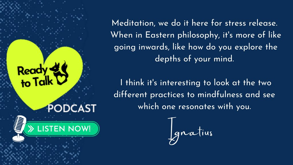 Ignatius, my fellow #Asianmentalhealth advocate, is on my #ReadyToTalkpodcast to talk about exploring mindfulness. Listen now:  ➡️ https://t.co/0cl2uS03Vs #aapiheritagemonth2021 #MentalHealthAwarenessMonth https://t.co/7pdKTwpmDY