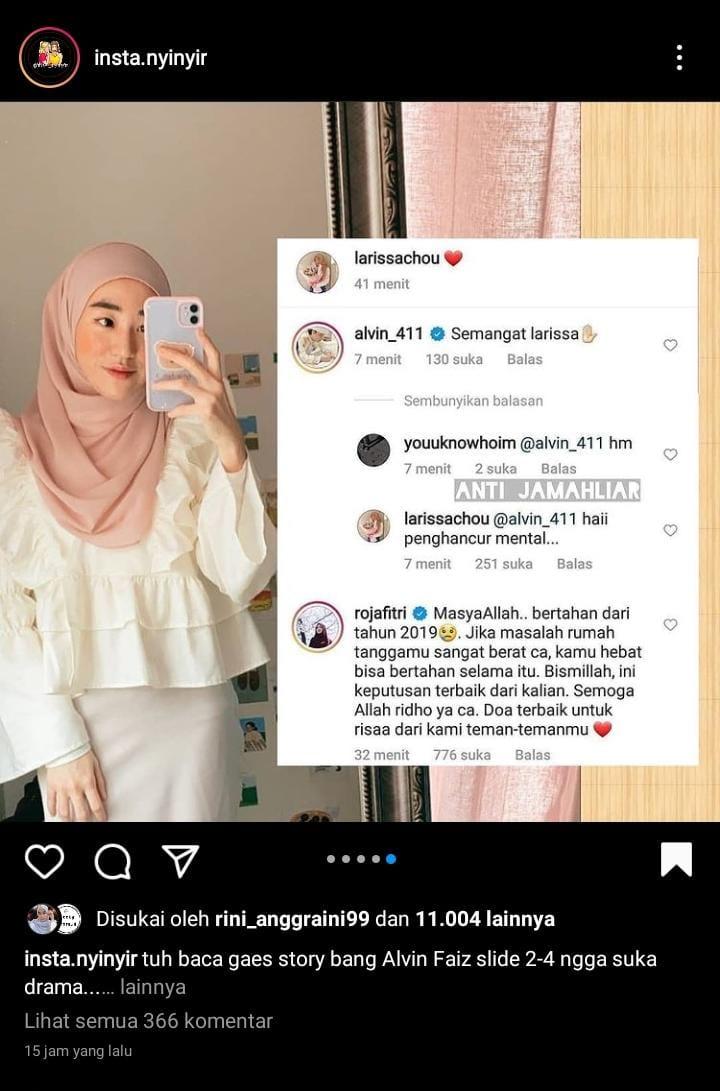 Komentar Larissa Chou di Instagram menyebut Alvin Faiz sebagi sosok penghancur.